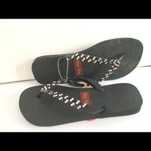 Havaianas Black flip flops with rhinestones